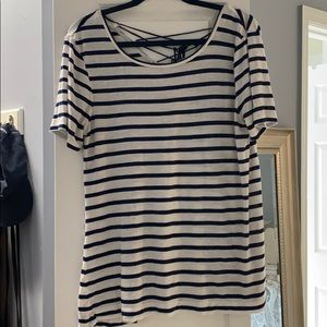 Blue and White striped T